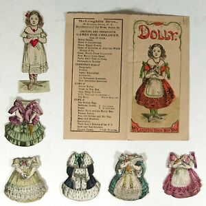 """ca1858 SET OF McLOUGHLIN BROS. PAPER DOLLS """"DOLLY"""" HAND COLORED PAPER DOLLS SET"""