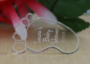 BABY SHOWER BABY FEET CLEAR ACRYLIC TAGS BOMBONIERE FAVOURS GIFT LASER ENGRAVED