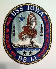 """USS Iowa BB 61 Our Liberties We Prize Our Rights We Will Maintain Patch 5"""" x 4"""""""