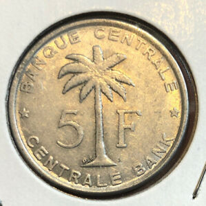 1956 BELGIAN CONGO 5 FRANCS RUANDA URUNDI PALM TREE UN TRUST TERRITORY COIN KM#3