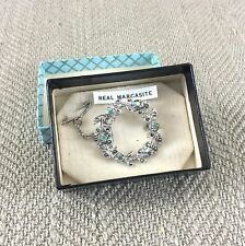 Marcasite Brooch Pin Silver Tone Vintage Estate Leaves Wreath Boxed