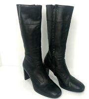 Fornarina Designer Women Knee High Boots Black Leather 8 US EU 39 Heel Zipper