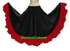 Black & Red Cotton Gypsy Flamenco Skirt 12 Yard Belly Dance Tribal Ethenic Boho