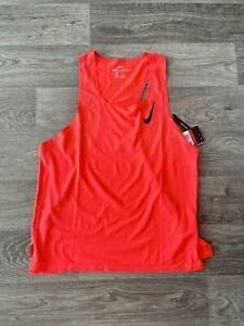 Nike Aeroswift Running Singlet Bright Crimson Mens CJ7835-635 Size L New $70