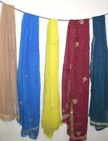 Vintage Chiffon Silk 5Pcs Lot Ethnic Dupatta Sequins Scarf Beaded Veil Stole