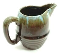 VINTAGE 1960s MCM CREAMER BROWN TURQUOISE DRIP GLAZE ART POTTERY HAND CRAFTED