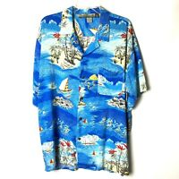 Pineapple Connection Mens Large Blue Rayon Short Sleeve Hawaiian Shirt