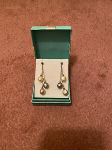 """925 silver 2"""" Long Drop earrings With Fresh Water Pearl.hall Marked.7grams. New"""