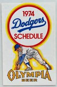 Olympia Beer LA Dodgers 1974 Trifold Schedule Vintage Made USA
