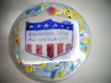 Vintage Degenhart Glass CAMBRIDGE OHIO ALL AMERICAN CITY PLAQUE Paperweight