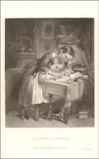 SISTER LEARNING TO WRITE, PENMANSHIP, COPY BOOK, antique mezzotint 1865