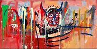 "Jean Michel Basquiat Print on Canvas  ""Satan"" 20x40"" Expressionism art sale"