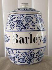 """Antique German Blue Onion Meissen Large Porcelain BARLEY 5.75"""" Canister & Lid"""