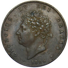 More details for 1826 halfpenny - george iv british copper coin - nice