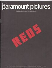Reds 1981 Movie Promo Media Press Handbook Of Production Information Paramount