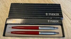 Parker Jotter Pen & Pencil Set In Original Box Burgundy
