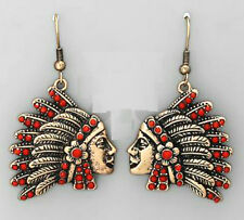 Burnished Gold Indian Chief Headdress Feathers Earring Wire Dangle Red Bead