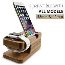 Bamboo Stand For iPhone iWatch Apple Watch Series 3 2 1 Charging Dock 38 42mm