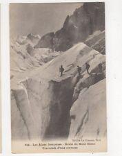 Les Alpes Francaises Route du Mont Blanc Traversee d'une Crevasse Postcard 392a