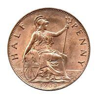 KM# 793 - Half Penny - Freeman 381 (1+B) - Edward VII - Great Britain 1902 (AU)