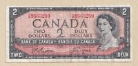 1954 $2 Bank of Canada Note Beattie Coyne N/B 9563259 - Fine