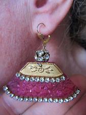 Boucles d'oreille rétro 60, rose & pierres strass, pour oreilles perçées