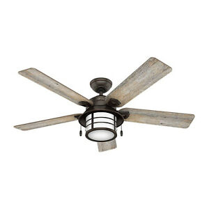 Hunter Fan Company Key Biscayne 54 Inch Ceiling Fan with LED Lights, Onyx Bengal