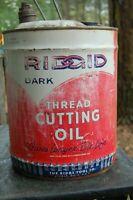 "Vintage 13"" RIDGID Thread Cutting Oil 5 Gallon Can  Americana Ridge Tool Co"