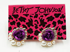 PURPLE ROSE CLUSTER GOLD CRYSTAL PUSH STUD ALLOY EARRINGS BETSEY JOHNSON