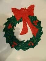 "Vintage Christmas Wreath 19"" Popcorn Plastic Melted Ornament Window Hanging"