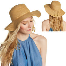 New AUGUST Toyo Straw Beach Floppy Hat Sun Protect Crushable Womens Natural 6731d0343844