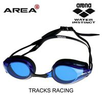 ARENA TRACKS RACING SWIMMING BLUE LENS GOGGLES, BLACK /BLUE , TRAINING GOGGLE