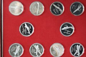 AIR Canada Presentation 1977 40 year sterling silver 10medals set;Wt-24.3gm each