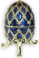 Egg Jeweled Trinket Box, with SWAROVSKI Crystals, Blue