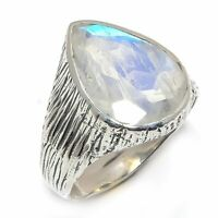 Rainbow Moonstone Natural Gemstone 925 Sterling Silver Ring Size 7.5 R-115