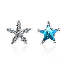 Women Lady Girl 925 Sterling Silver Natural Zircon Cute Star Ear Stud Earrings
