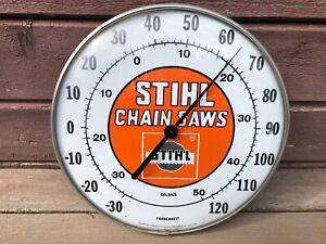 "RARE VTG STIHL CHAIN SAWS 12"" ROUND ADVERTISING THERMOMETER JUMBO DIAL OHIO"