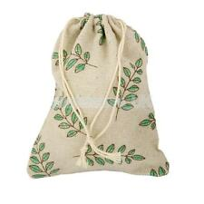 10 Large Rustic Leaf Burlap Gift Bags Jewelry Pouches Hessian Wedding Favors