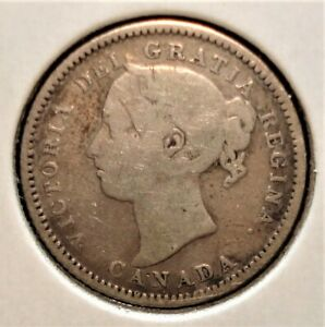 """1886 Silver Canadian Dime, Small """"6"""" Variety"""