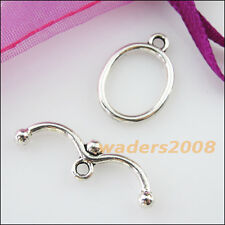 8 New Connectors Necklace Smooth Oval Circle Toggle Clasps Tibetan Silver