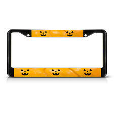 HALLOWEEN PUMPKIN FACES Metal License Plate Frame Tag Border Two Holes