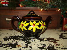Vtg Royal Canadian Red Clay Brown Glaze Yellow Flower Pottery Tea Pot Teapot