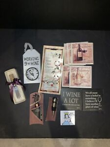 Wine Lover Gift Pack Wine Glass Charms Bottle Toppers Coasters Magnet Spreader