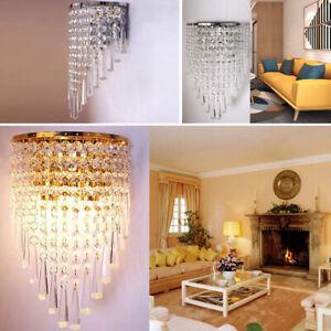 Modern Crystal Wall Lamp Sconce Light Bedroom Bedside Hallway LED Lighting Home