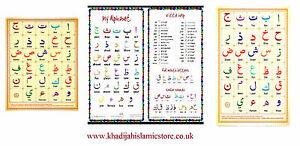 Laminated/Card Arabic Alphabet Takhtee-A4 Size-IslamicArabic Alphabet Colourful