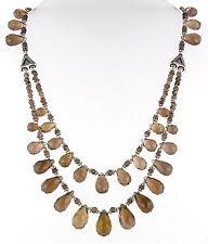 Doble Hebra De Cuarzo Ahumado Bolas Gotas Collar Con Perlas De Plata
