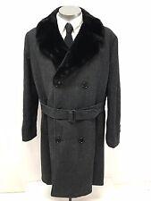 vintage 60s mens black herringbone TOWNCRAFT top coat over coat alpaca lined XL