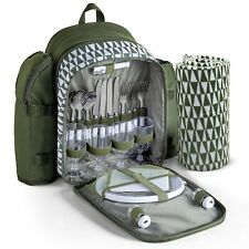 More details for vonshef 4 person picnic backpack with insulated cooler, blanket, cutlery - green