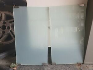 Pair Of Frosted Glass Doors With Fixings 30 x 53.5cm each (for cabinet etc)