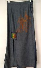 Be You K Womens Blue Skirt Asian Warriors Design Tiered Ruffle Side Slit
